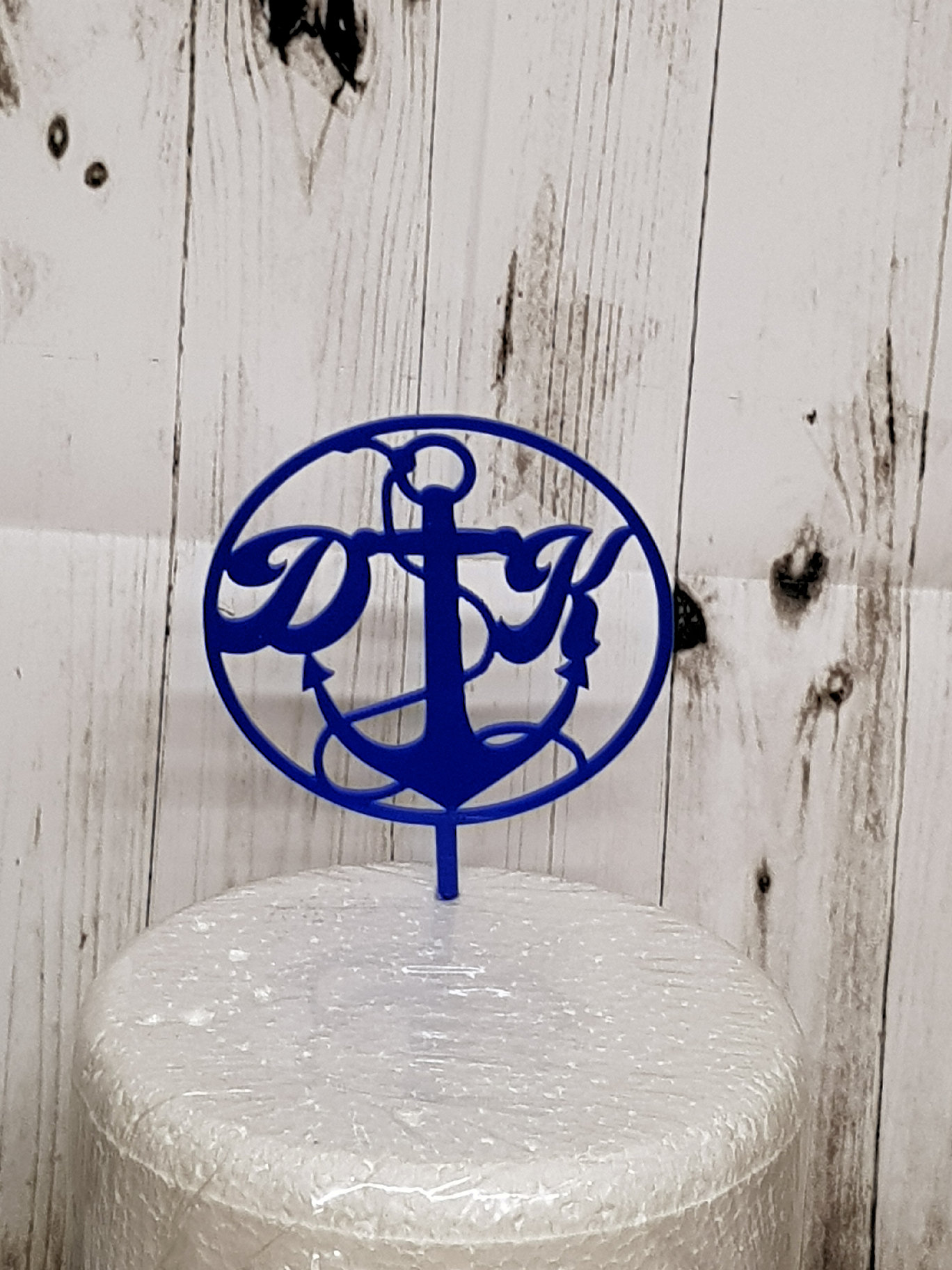 Anchor with letters acrylic cake topper