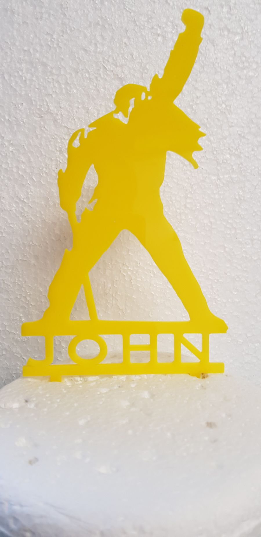 Freddy Mercury with name acrylic cake topper