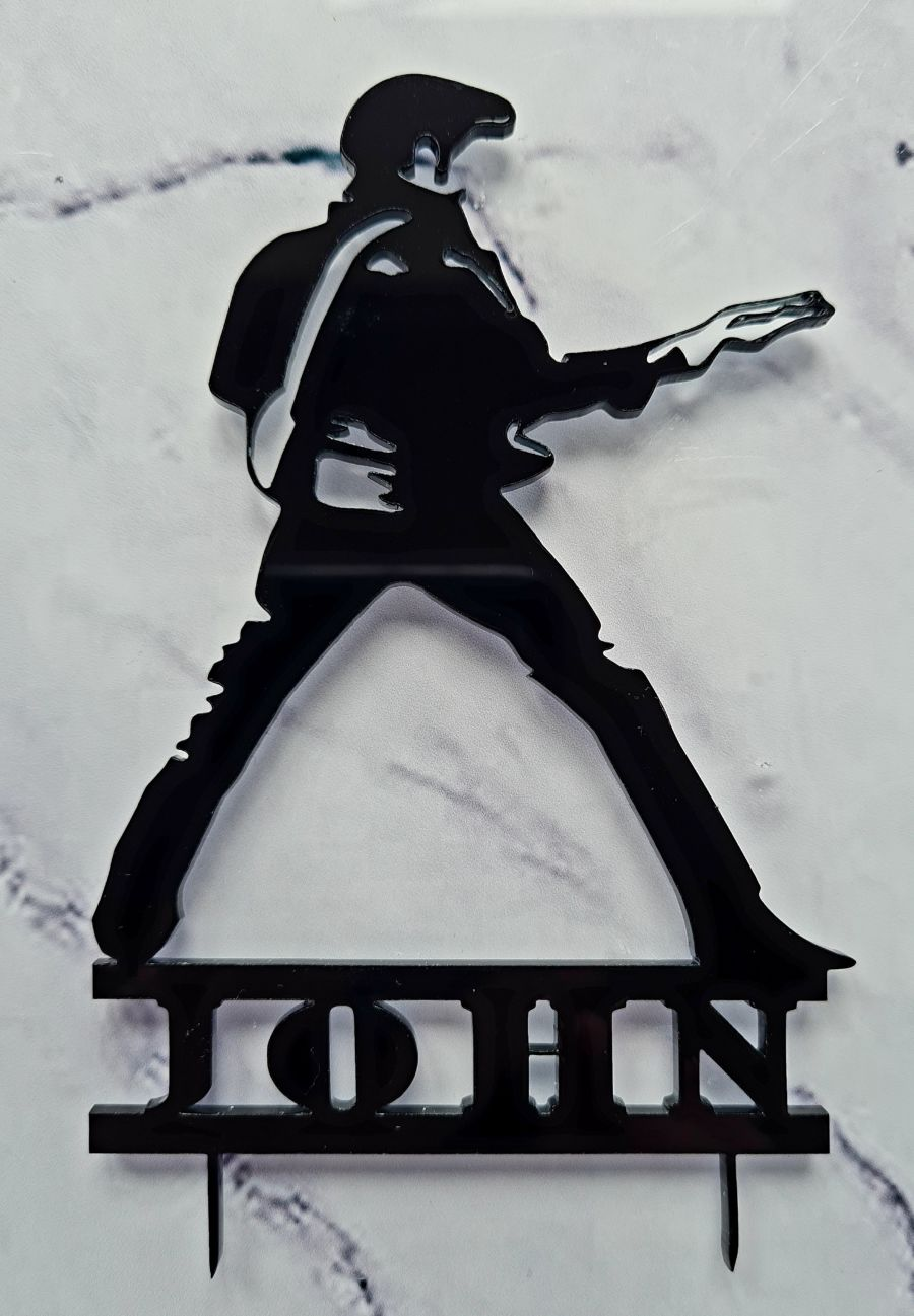 Elvis with name acrylic cake topper