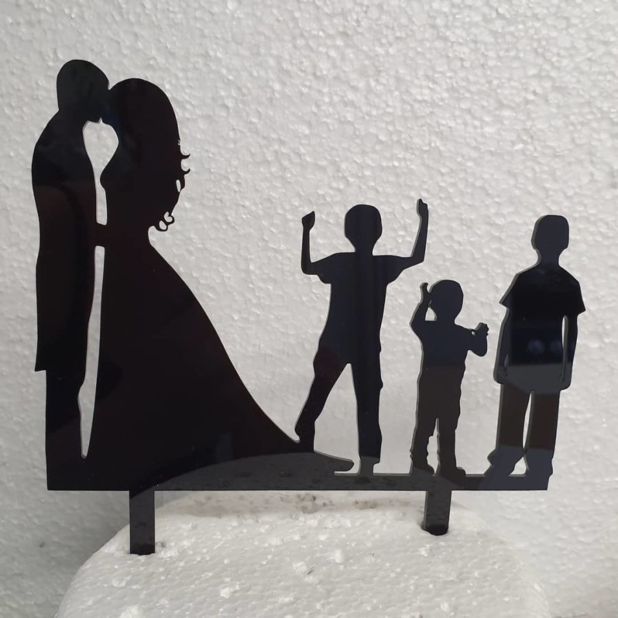 Mr & Mrs with 3 Boys acrylic cake topper