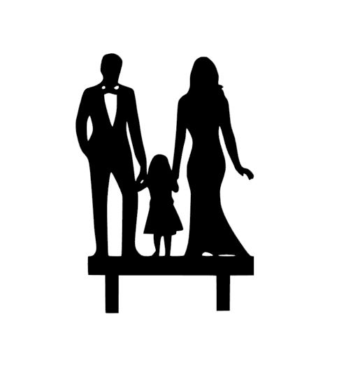 Mr & Mrs with little girl acrylic cake topper