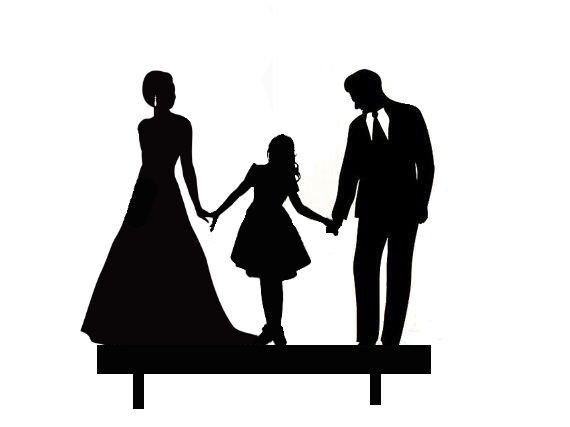 Mr & Mrs with Older girl between them acrylic cake topper
