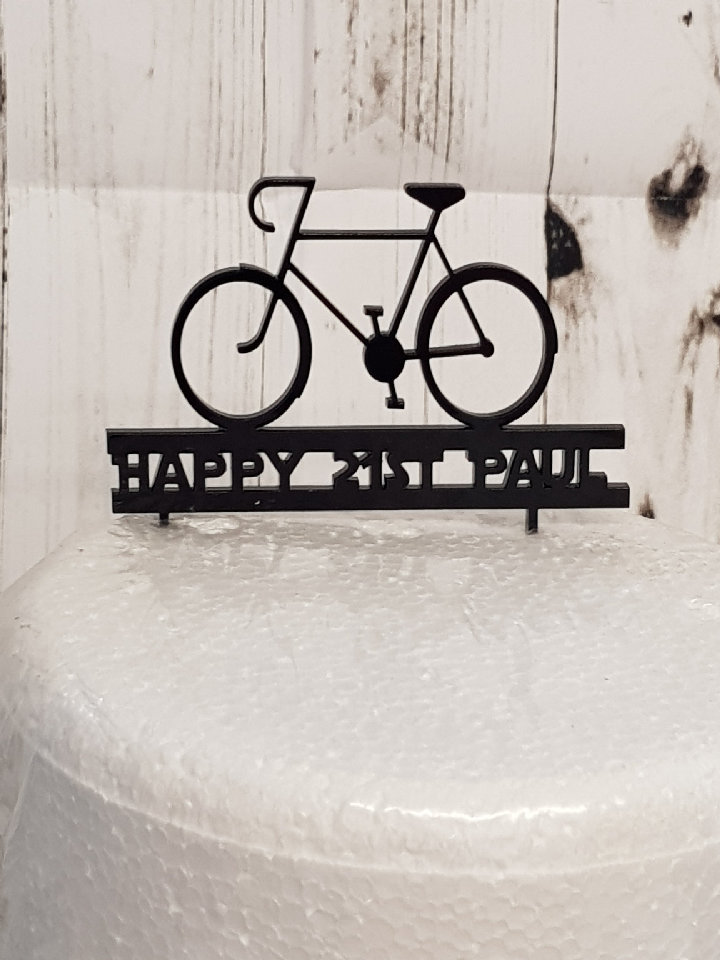 Bike with name acrylic cake topper