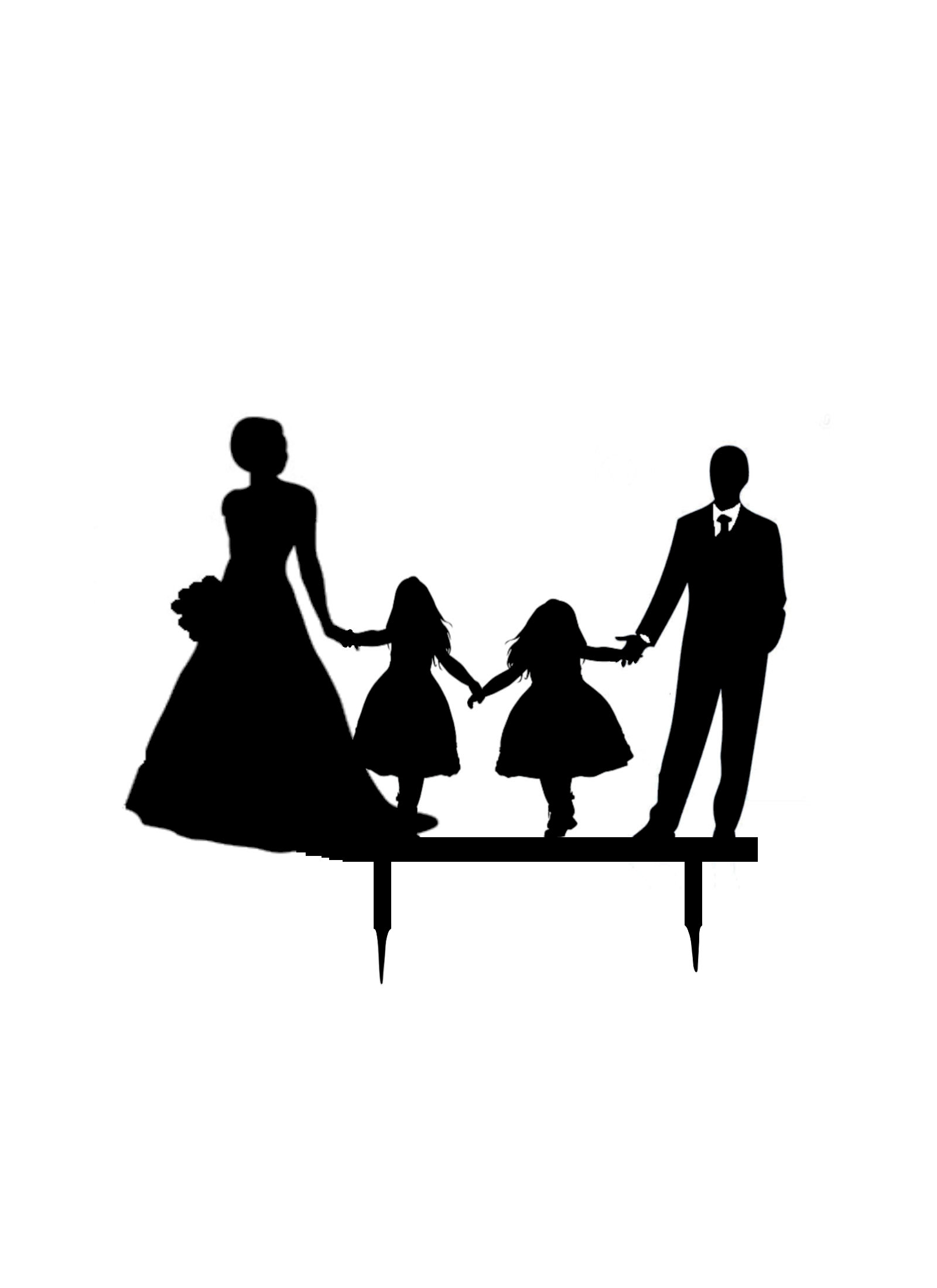 Bride & Groom with 2 Young girls acrylic cake topper