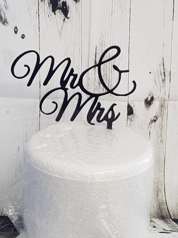 Mr & Mrs big & sign acrylic cake topper