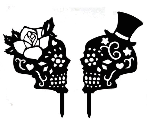 Day Of the dead bride and groom acrylic cake topper