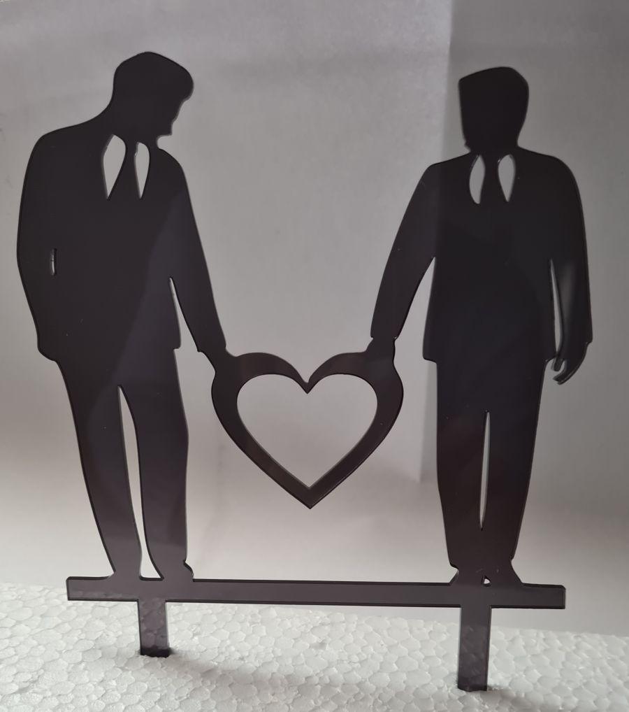 Gay male couple wedding acrylic cake topper