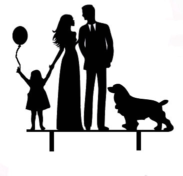 Mr & Mrs with girl and balloon and pointer dog acrylic cake topper