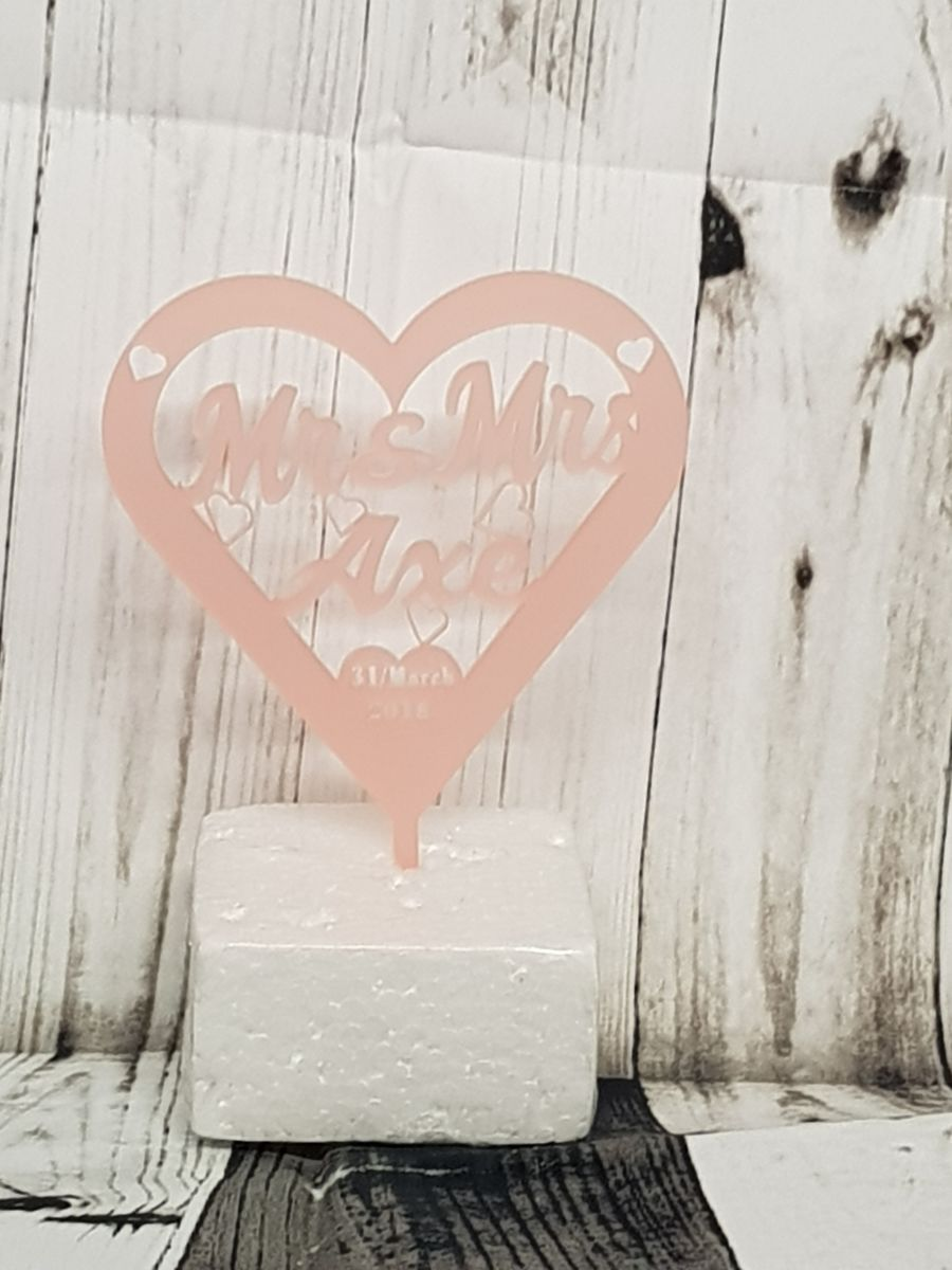 Heart Mr & Mrs and name acrylic cake topper