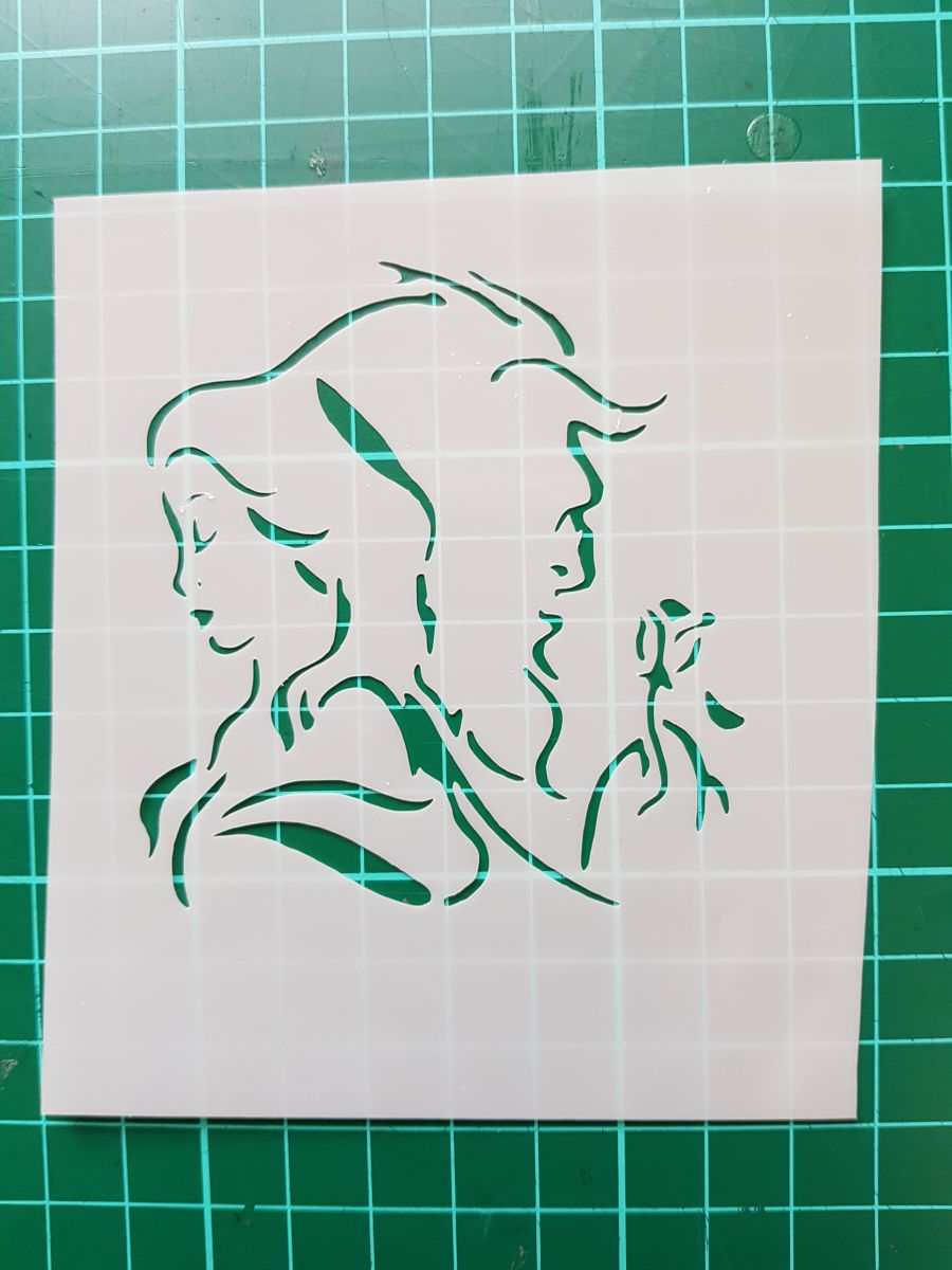 Beauty and the beast faces stencil 2