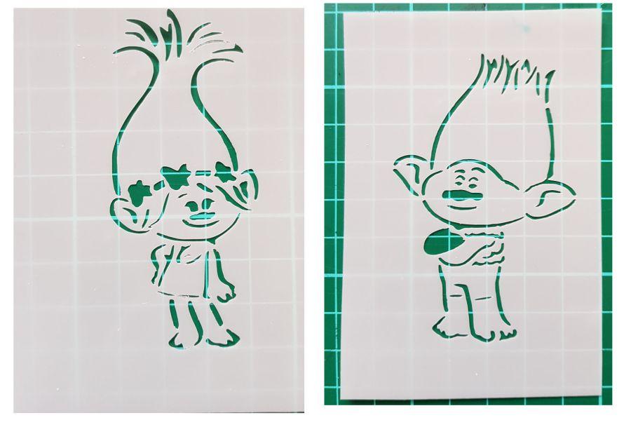 Trolls Poppy and Branch stencils