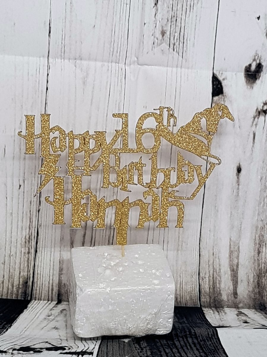 Name age with harry potter hat cake card topper