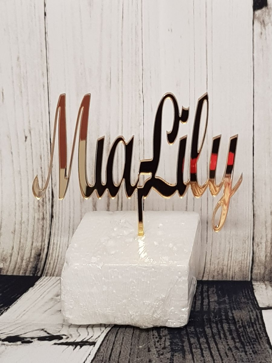Name up to 20 letters acrylic cake topper script mt bold