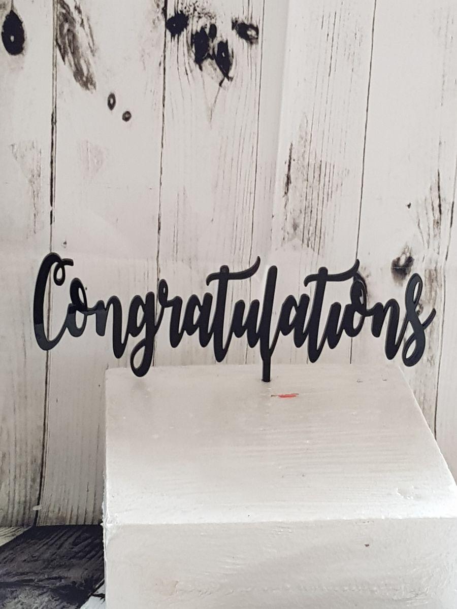 Congratulations acrylic cake topper