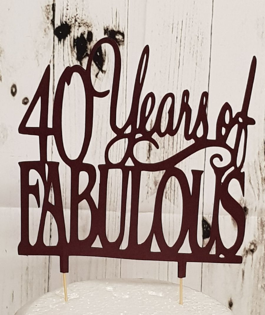 x Years of Fabulous cake card topper