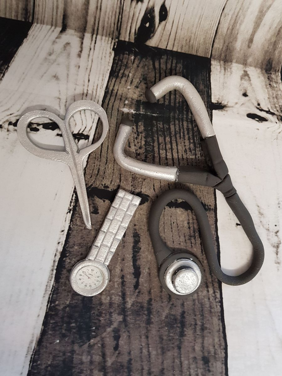 Nurse or doctors stethoscope, scissors, & Watch set