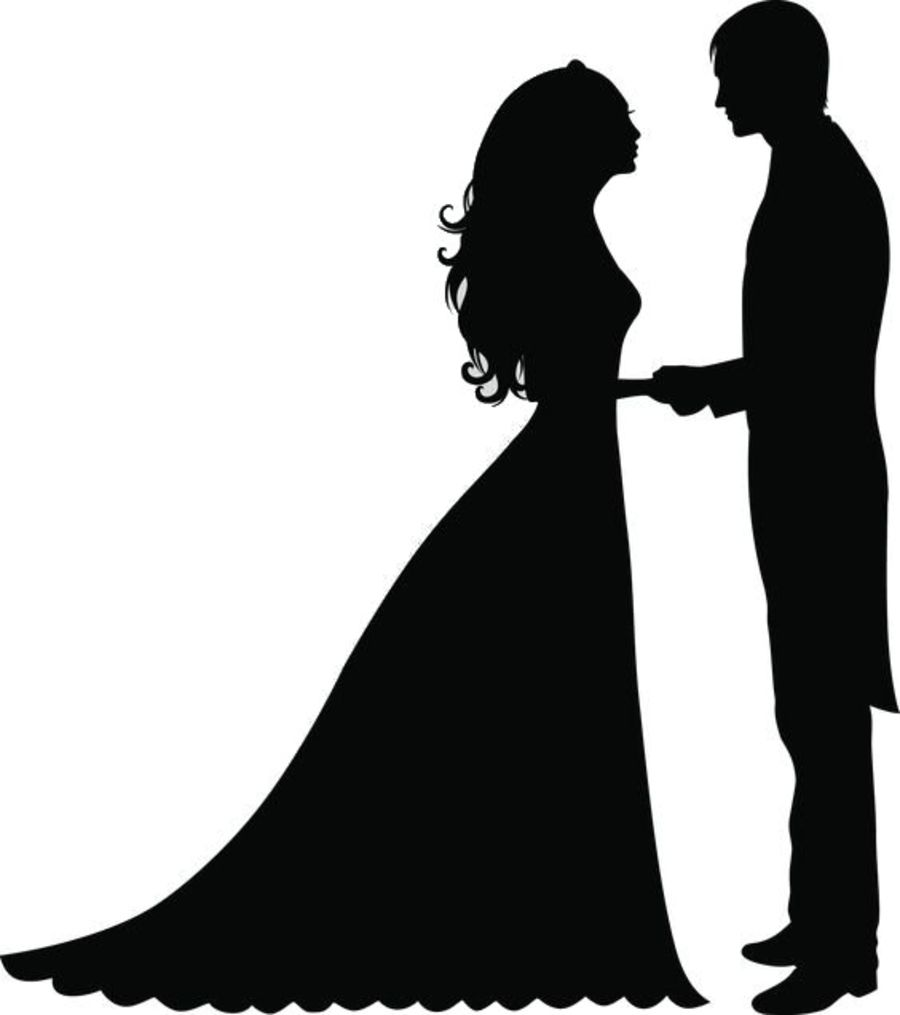just married sugar silhouette cut outs