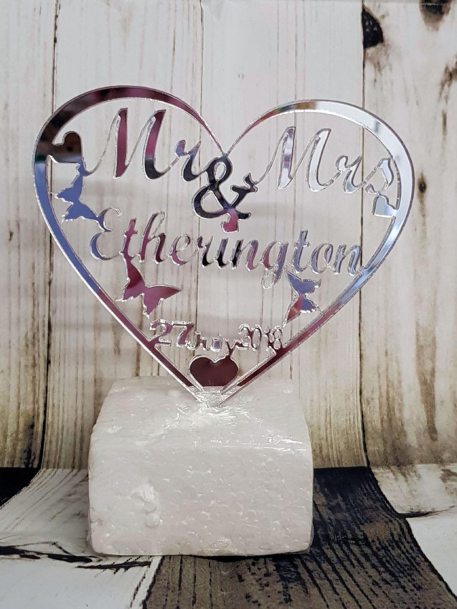 Mr & Mrs Heart butterflies & Hearts acrylic cake topper