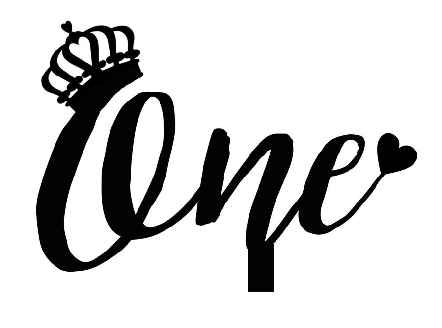 one with crown cake card topper