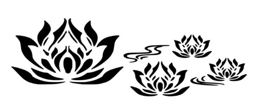 Lotus Flower Border Stencil
