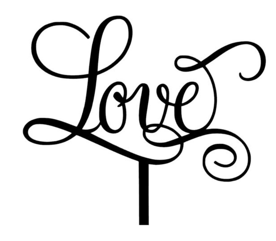 swirly love acrylic cake topper
