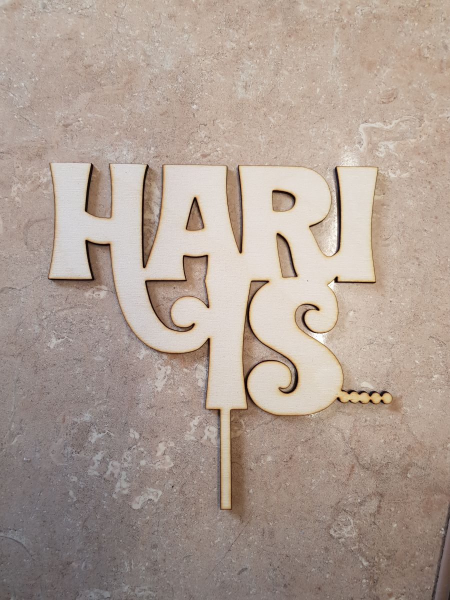 Name is .... Wood cake topper