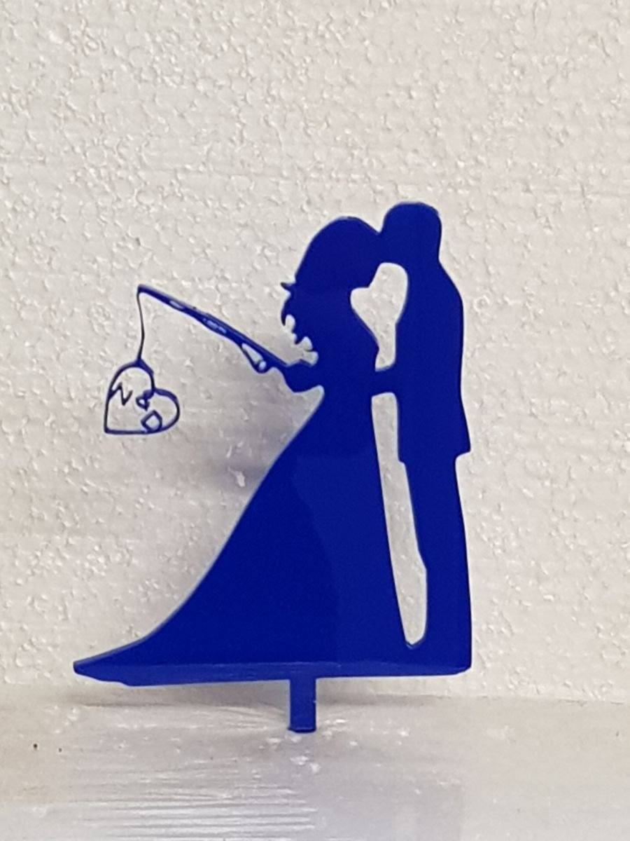 Mr & Mrs fishing with initials at side acrylic cake topper