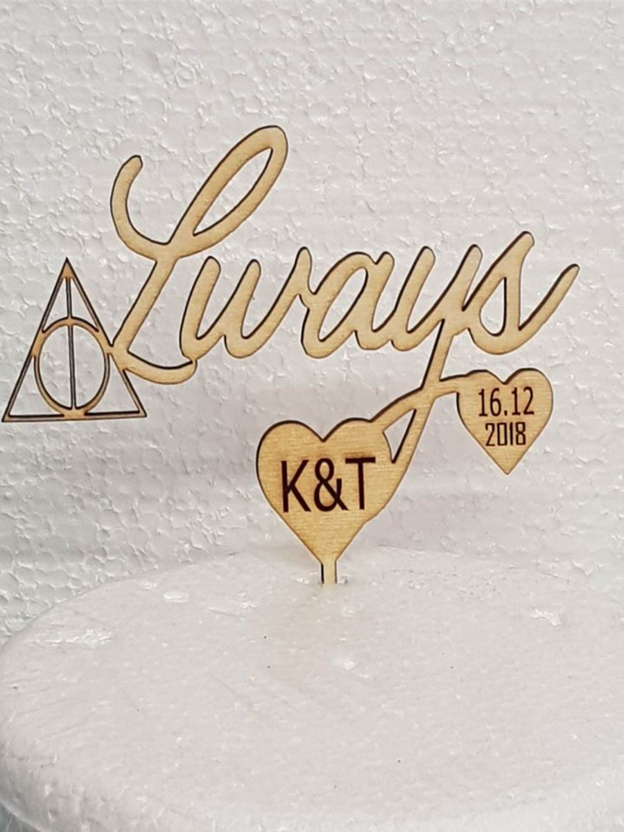 Always with date and initials Wood cake topper