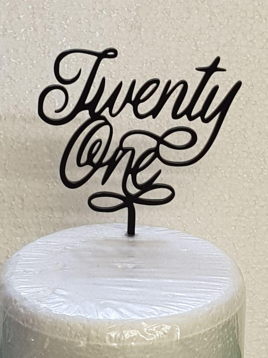 swirl under twenty one acrylic cake topper