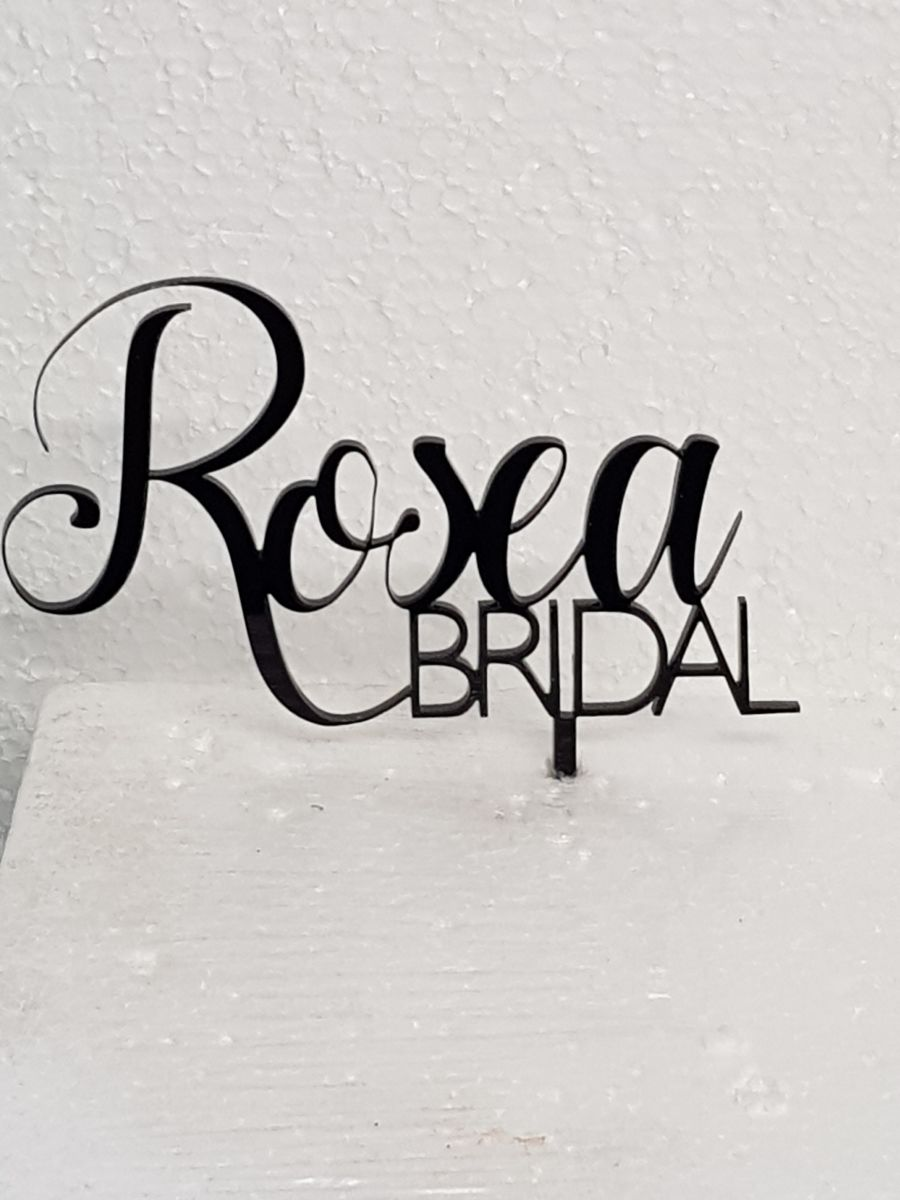 Name then bridal acrylic cake topper