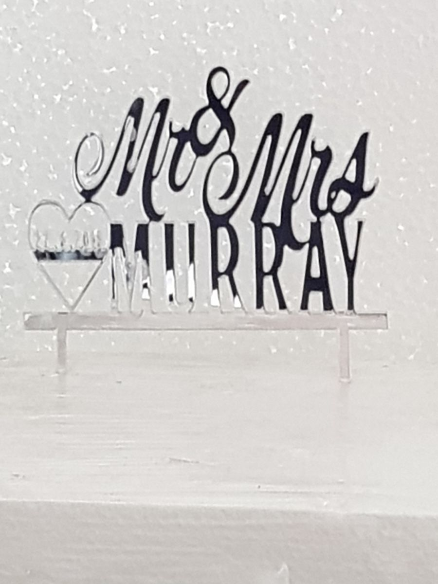 Mr & Mrs with Heart and date acrylic cake topper