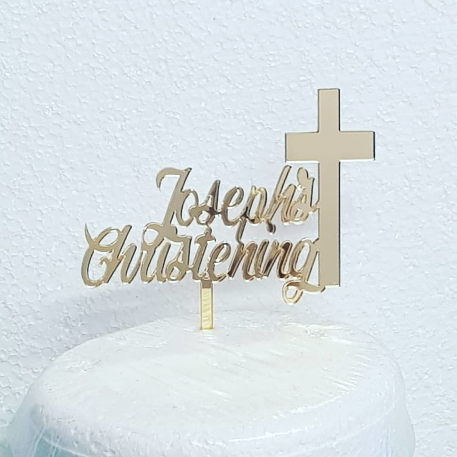 Christening with name and cross acrylic cake topper