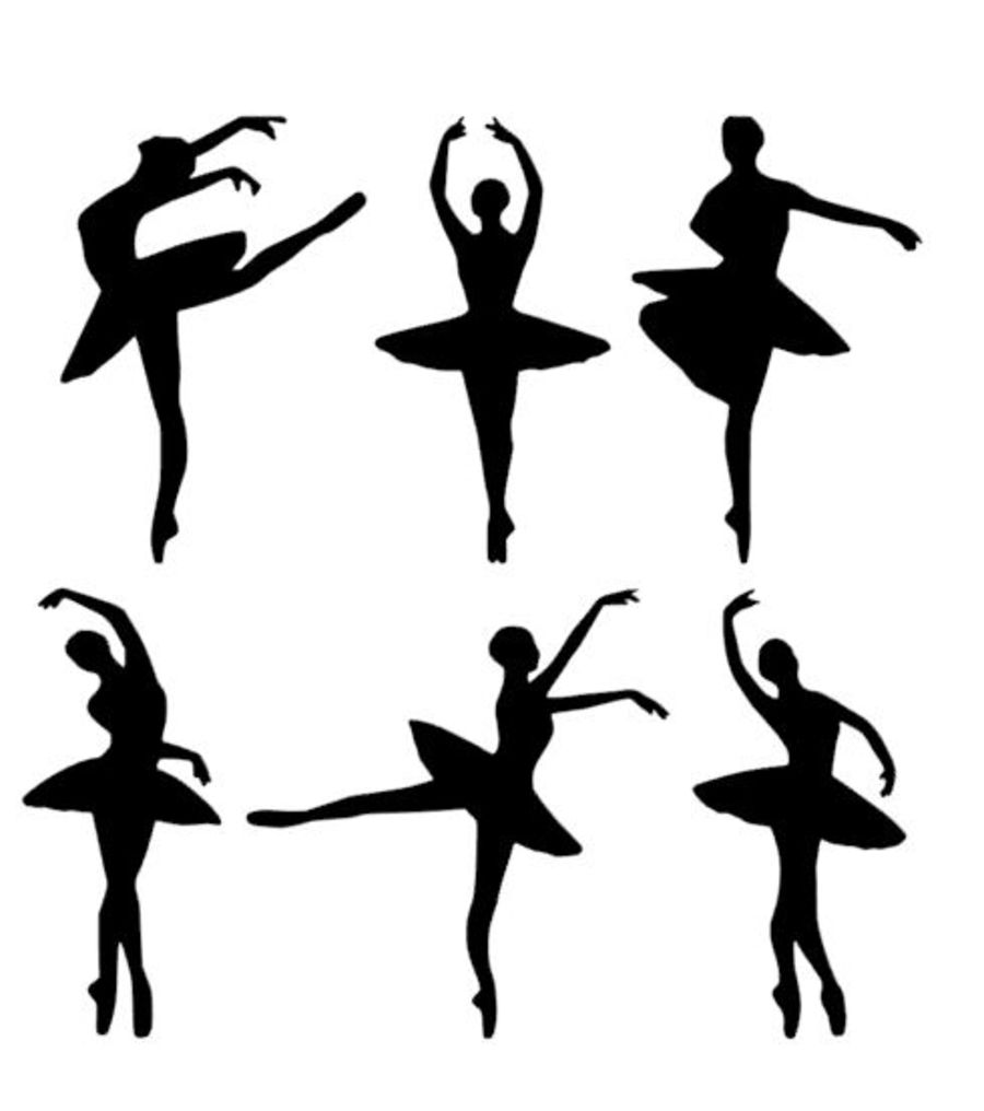 Mix of ballet dancers sugar silhouette cut out