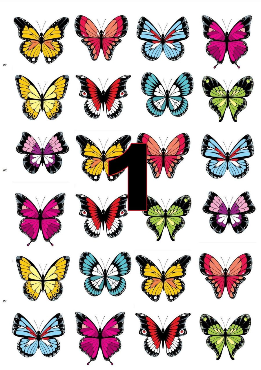 Various sheets coloured butterflies Sugar Icing Sheet