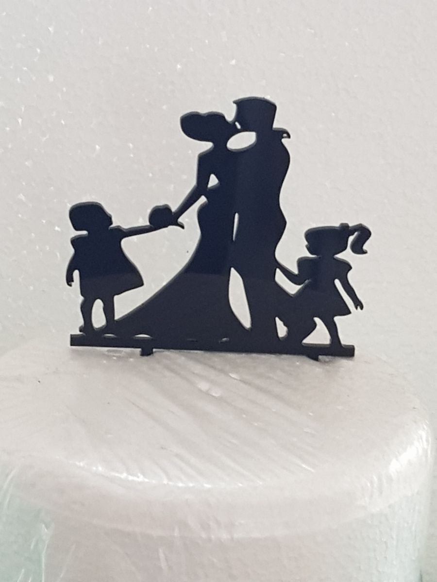 Mr & Mrs with 2 girls number 2 acrylic cake topper