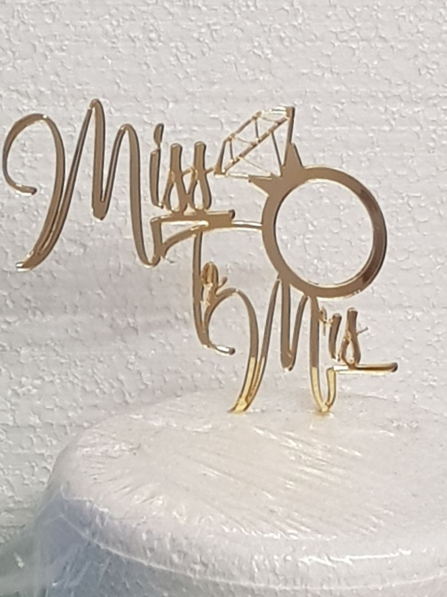 Miss To Mrs acrylic cake topper