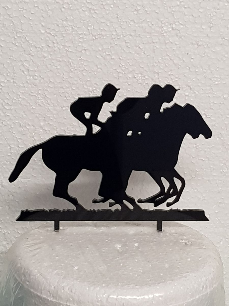 Horse race acrylic cake topper