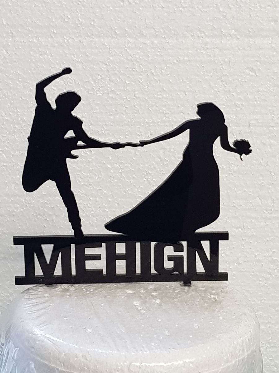 Bruce Springsteen & Bride with name acrylic cake topper