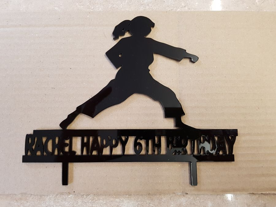 Karate kid with name under acrylic cake topper