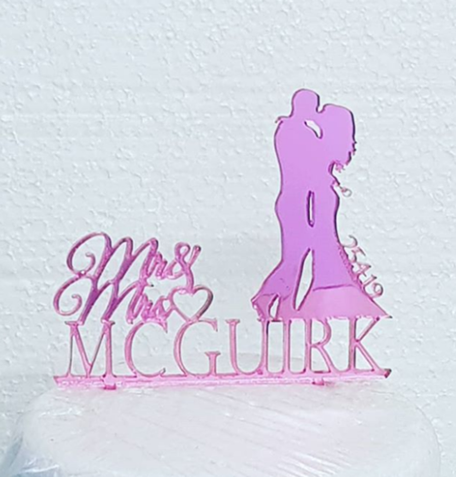 Mr & Mrs Handcuffs with name and date at side acrylic cake topper