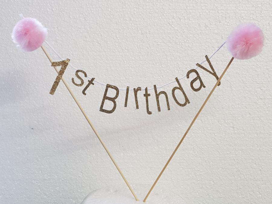 pom poms birthday cake topper