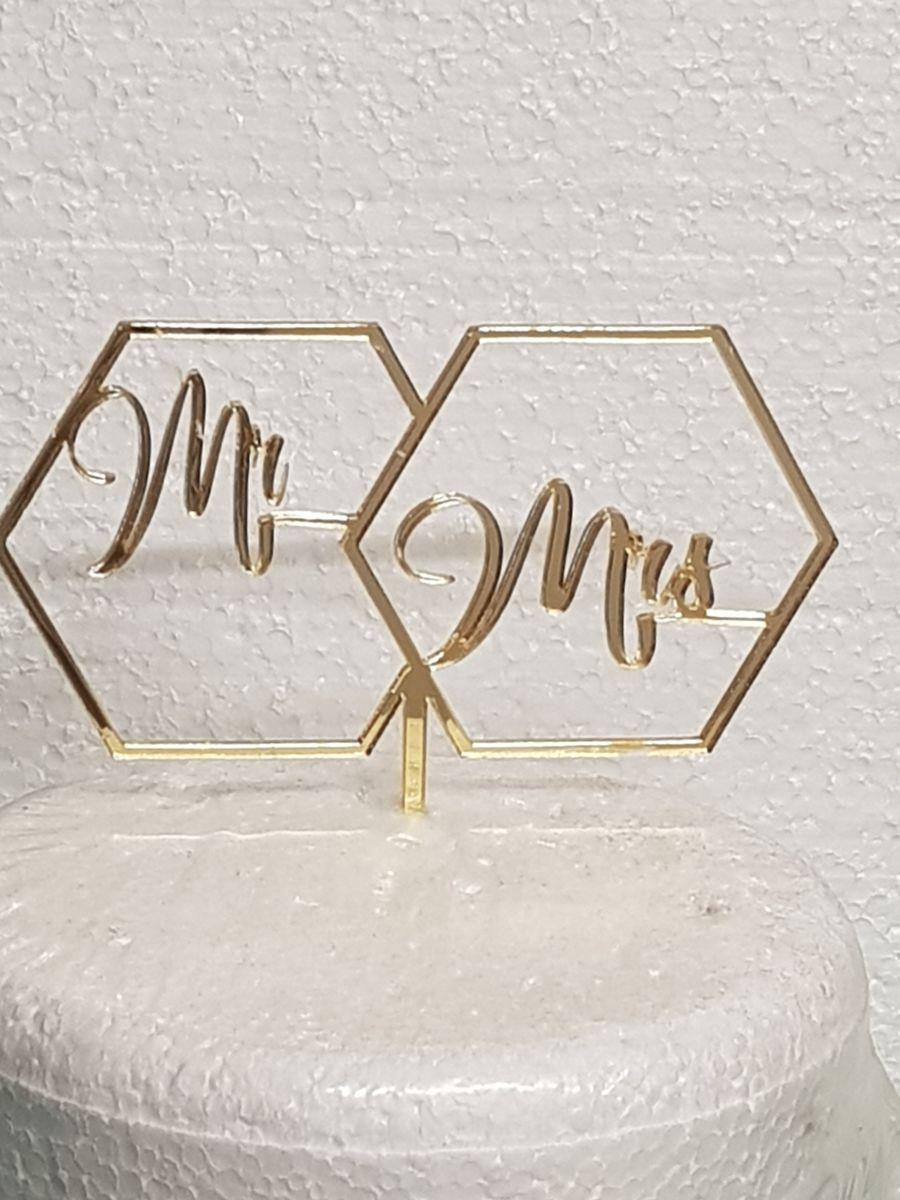 Hexagon Mr & Mrs acrylic cake topper