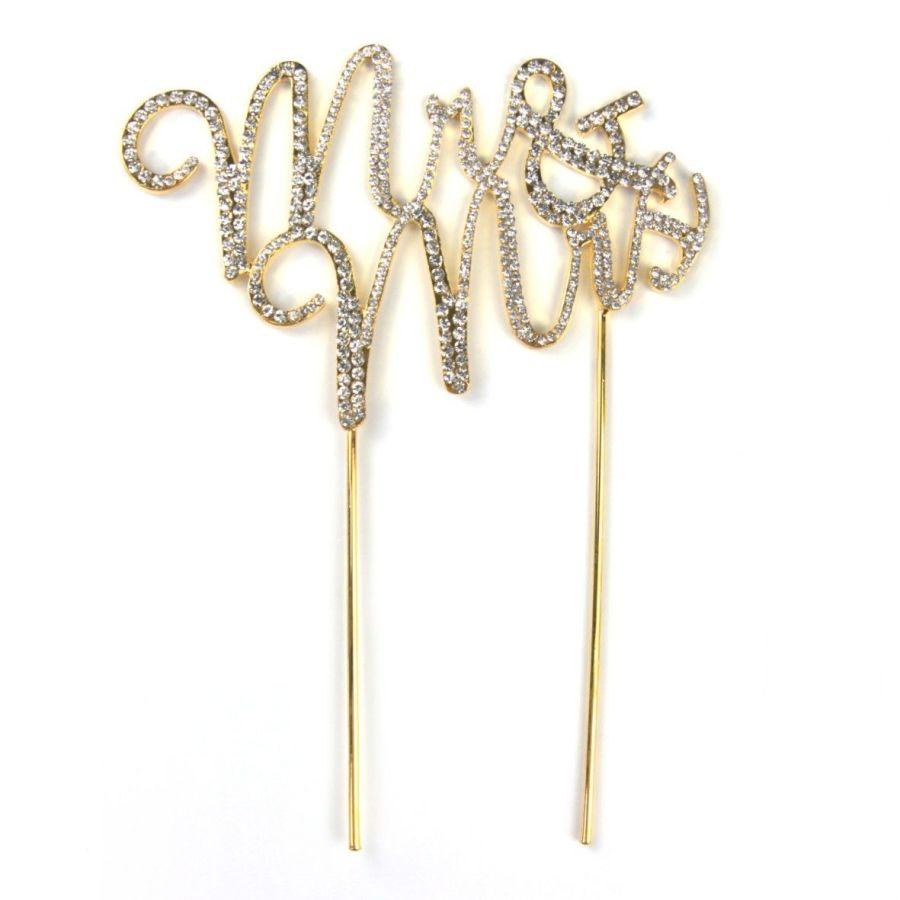 Diamante mr & mrs gold Cake Pick Topper