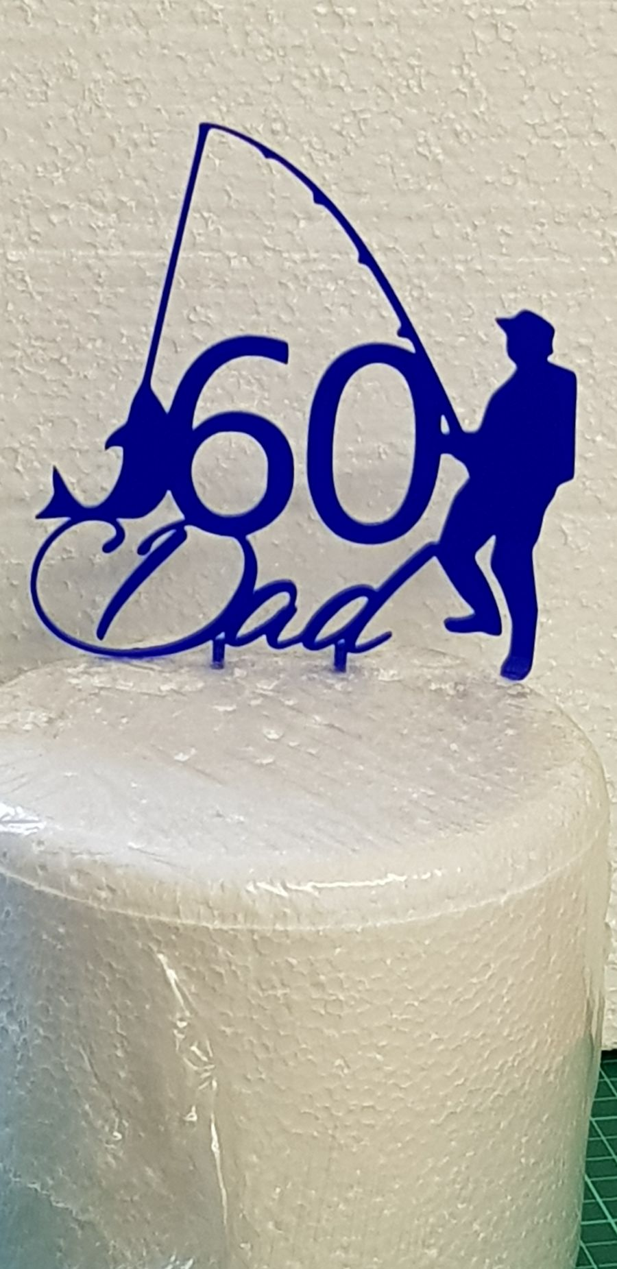 Caught a Fish with name and age acrylic cake topper