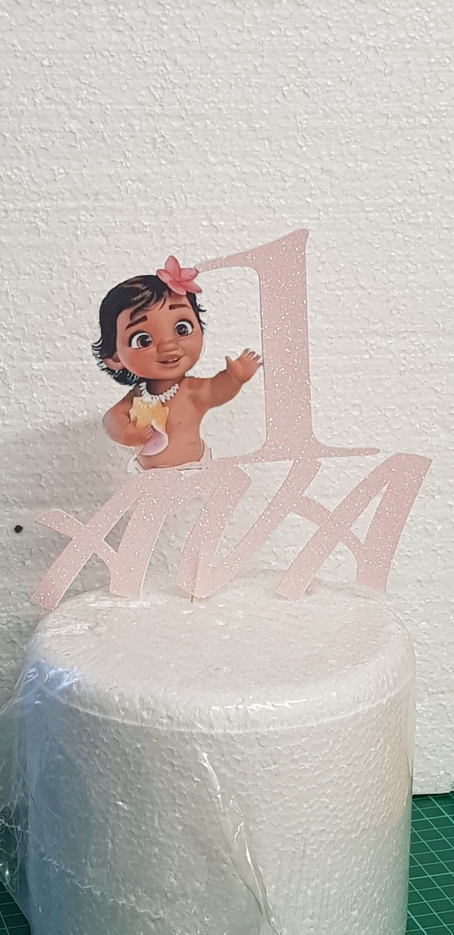 baby moana with name and number cake card topper