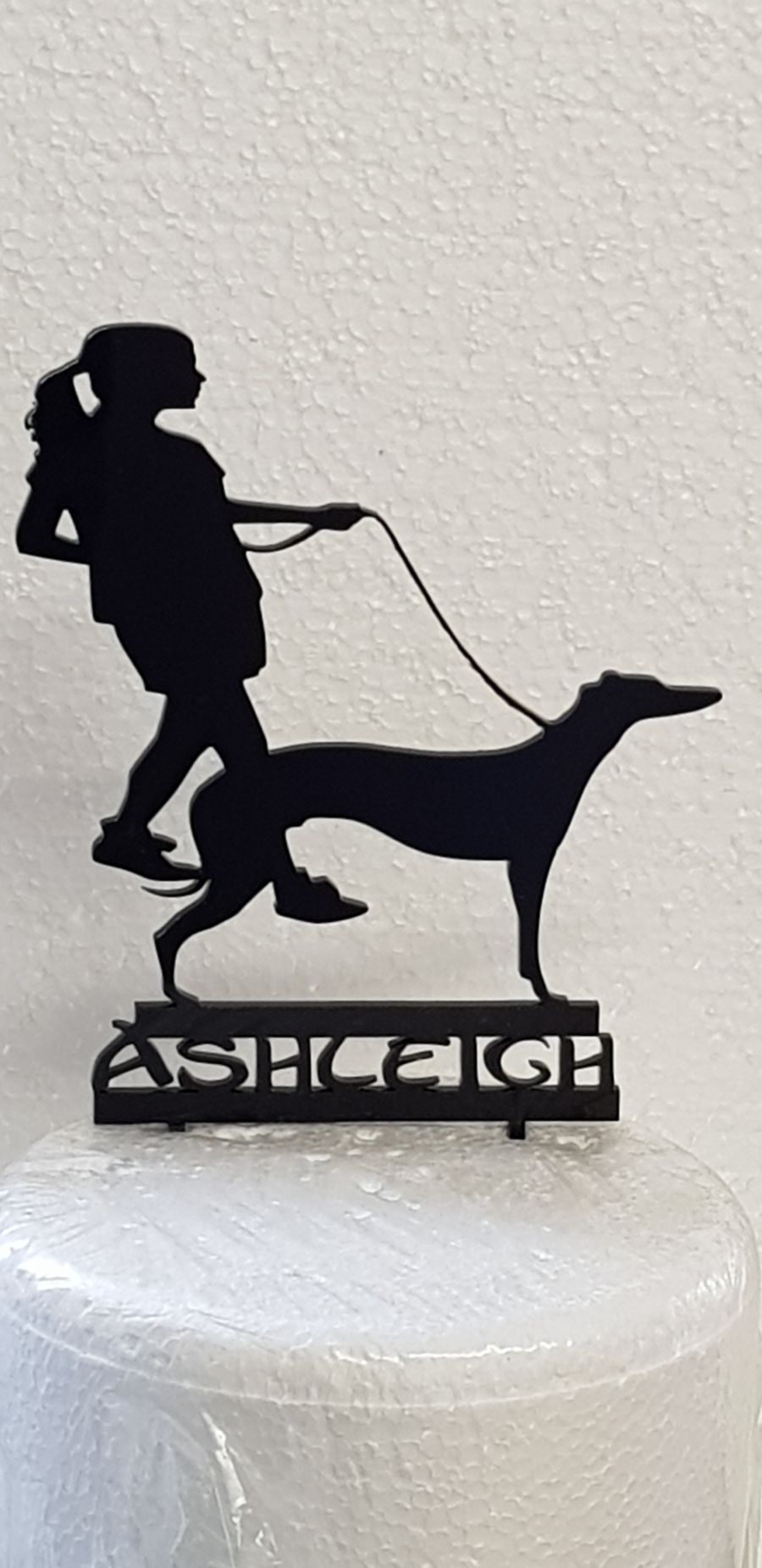 Girl Walking the dog with name acrylic cake topper