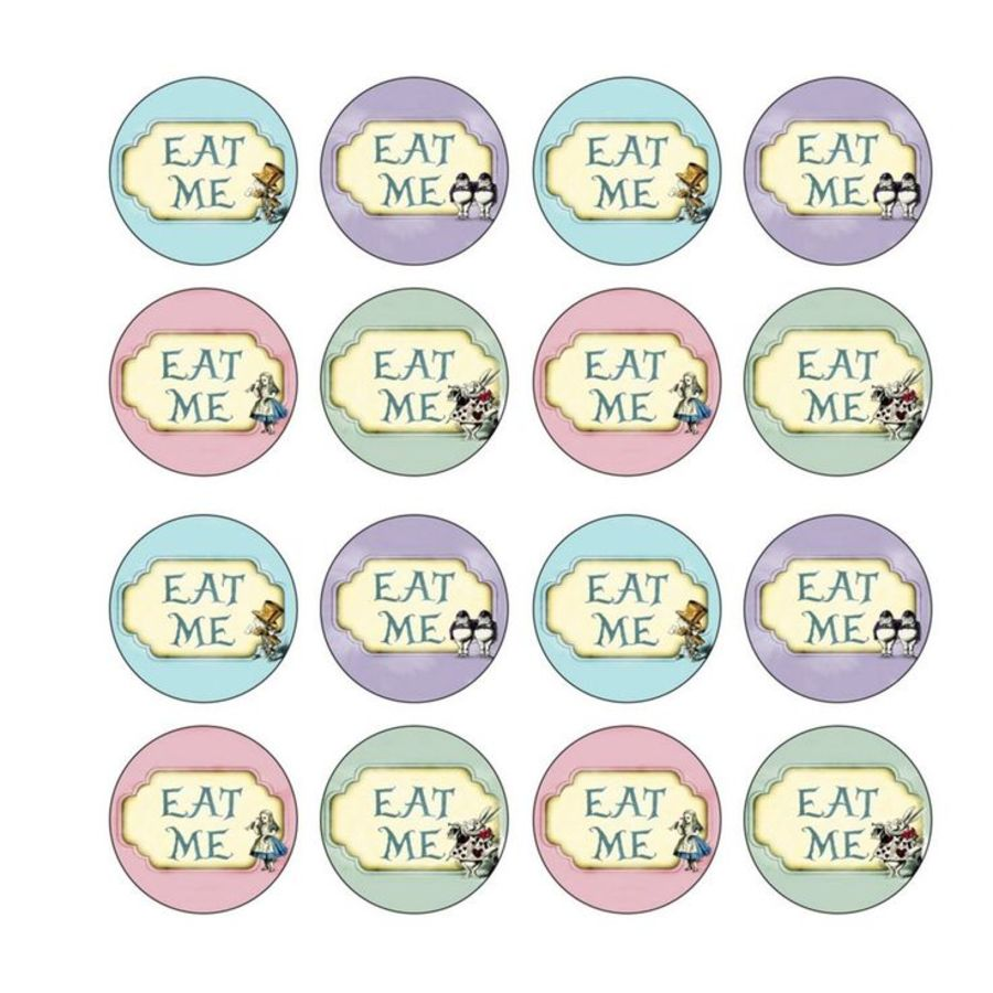 Alice in wonderland eat me Cupcake Toppers X 16