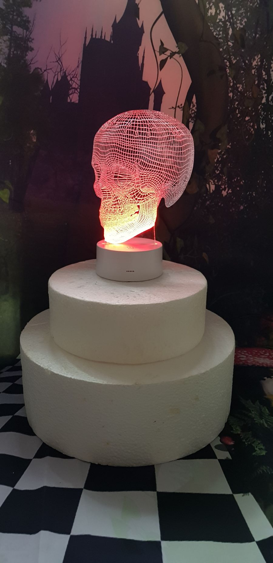3D skull light up cake topper night light