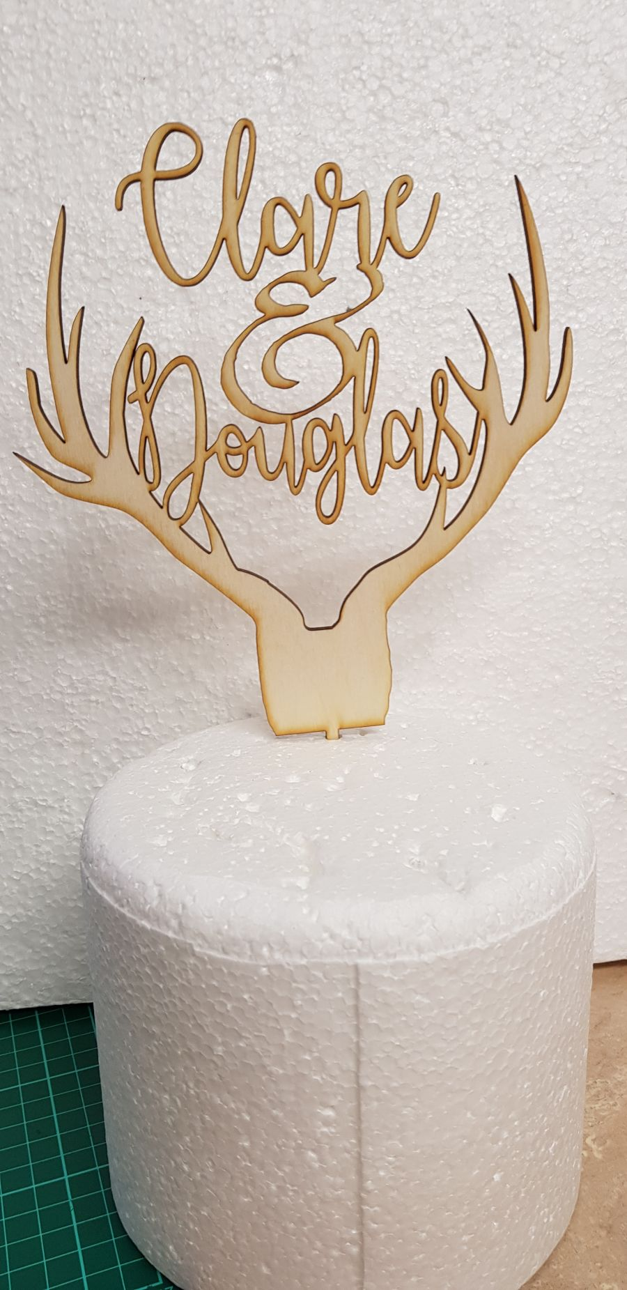 Antlers and names topper entwined Wood cake topper