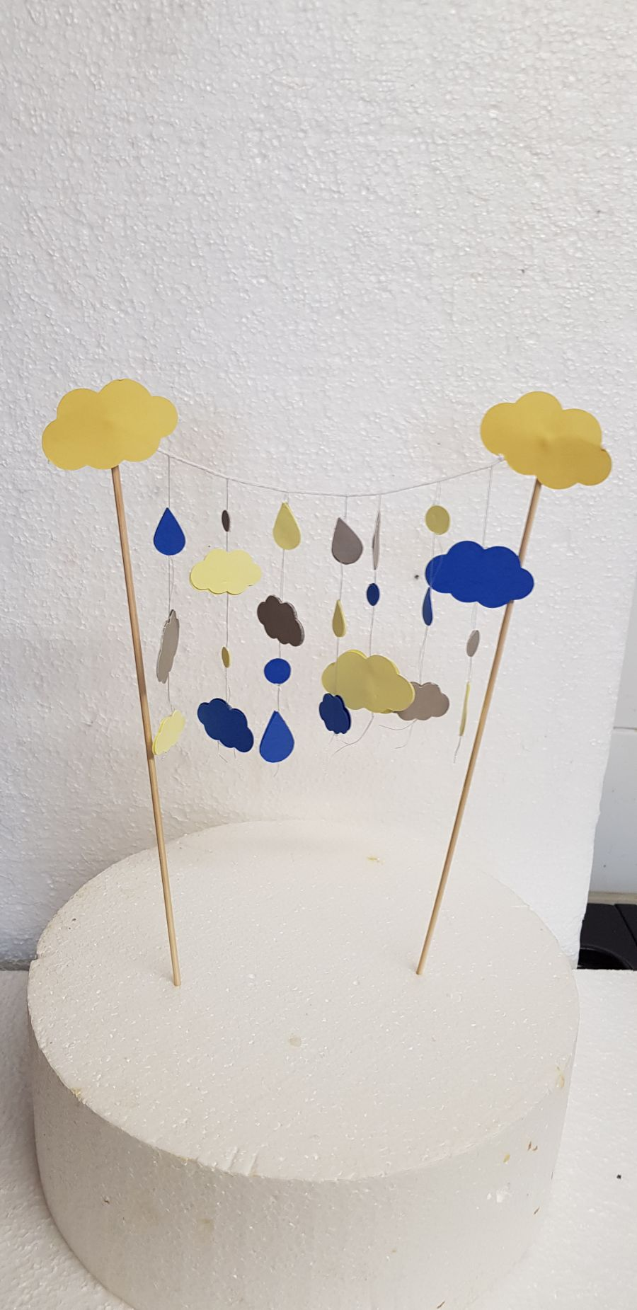 clouds and raindrops birthday cake topper
